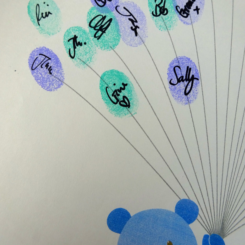 Fingerprint art, blue teddy holds fingerprint balloons