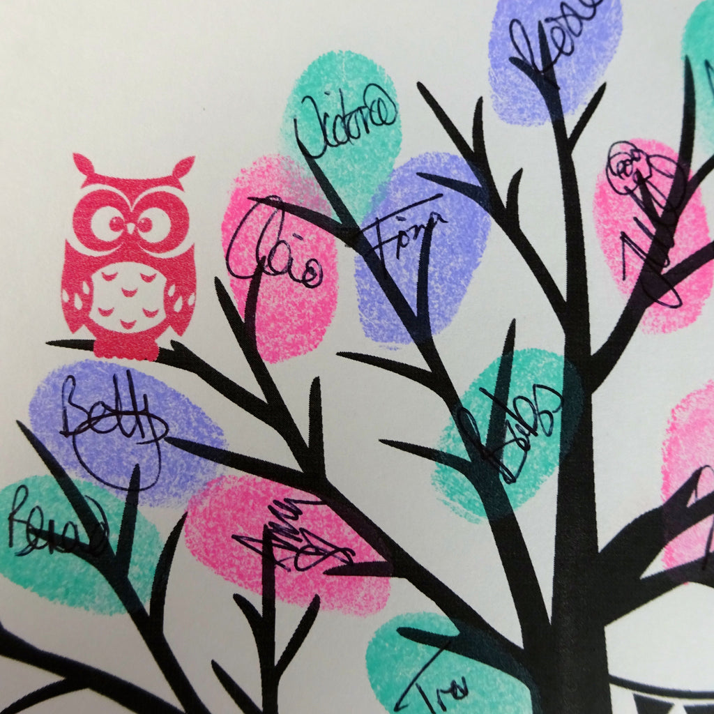 Fingerprint tree / fingerprint leaves, pink owl