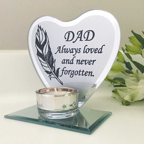 Feather Heart Mirrored Remembrance Tea Light Holder - Dad