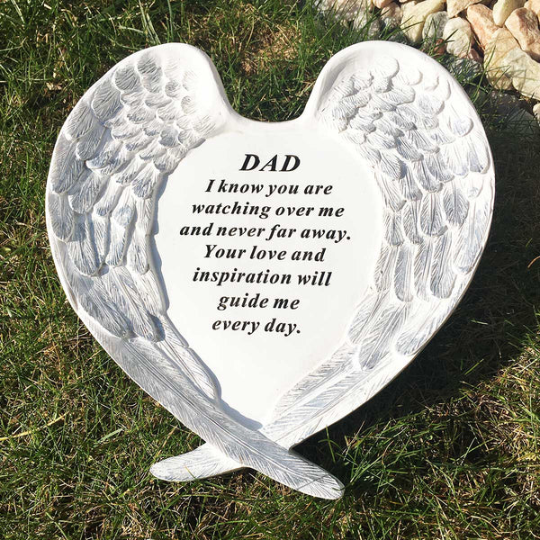 Angel Wings Heart Outdoor Memorial - Dad