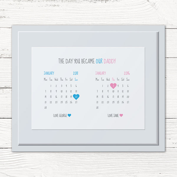 The Day You Became My/Our Mummy/Daddy Personalised Print