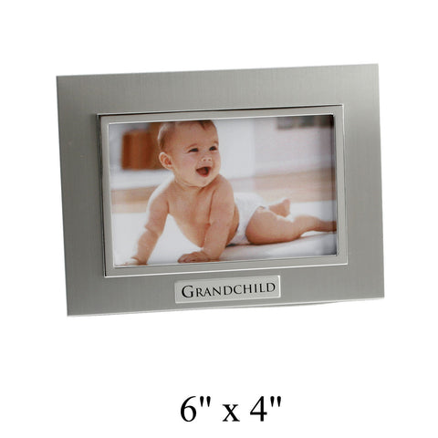 'GRANDCHILD' photo frame - two tone silver