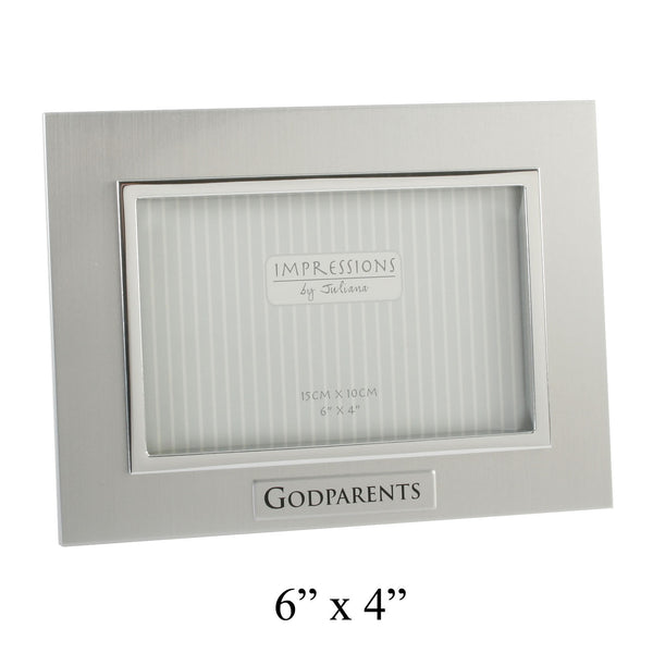 'Godparents' Photo Frame, Two Tone Aluminium