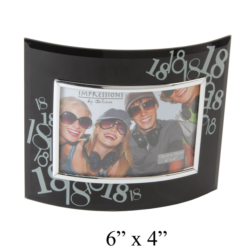 18th Birthday Photo Frame - Curved Black Glass