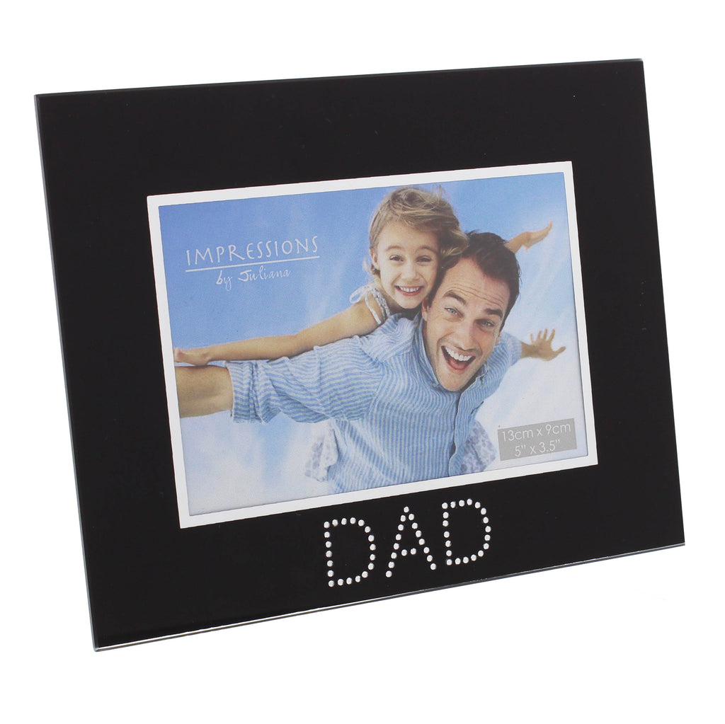 Dad Photo Frame, Black Glass