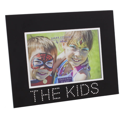 'The Kids' Photo Frame, Black Glass Crystal Details