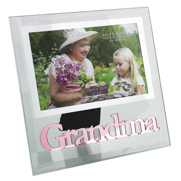 'Grandma' Photo Frame, Clear Glass, Pink Text