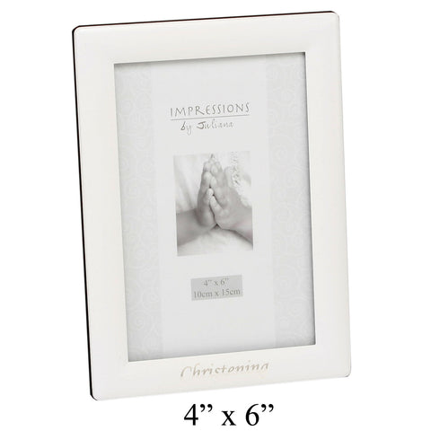 Christening Photo Frame, White, Silver Detail