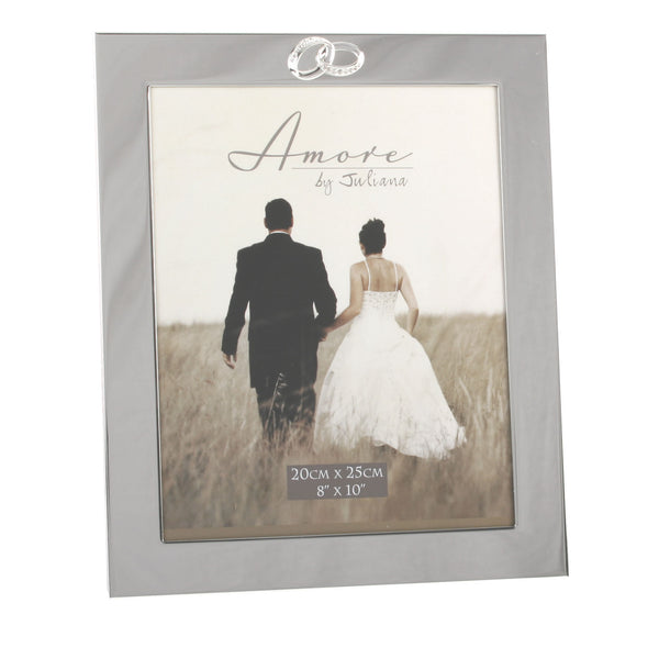 Engagement, Wedding or Anniversary Photo Frame, Crystal Rings