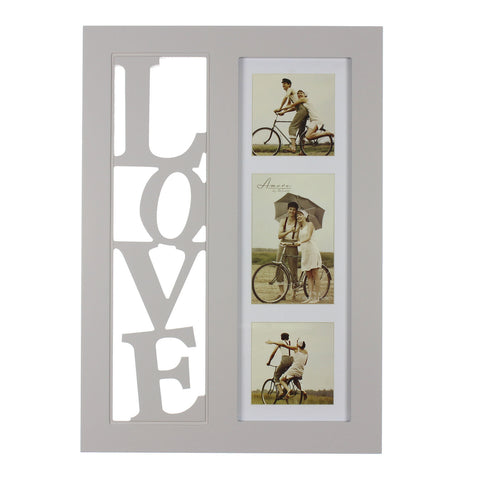 Amore MDF Triple Collage with 3D cut out letters 'LOVE'