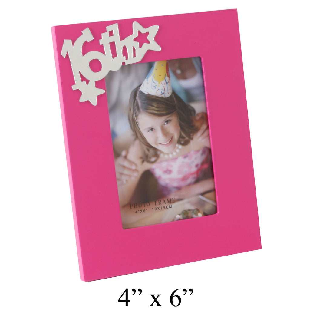 16th Birthday Photo Frame - Pink Funky Girl Talk