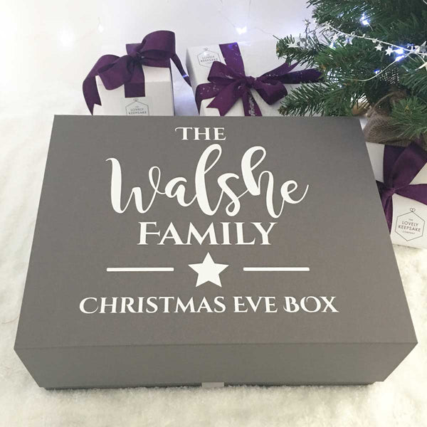 Personalised Christmas Eve Box - Star (White, Black, Grey)