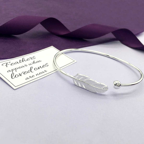 Sterling Silver Feather Memorial Bangle