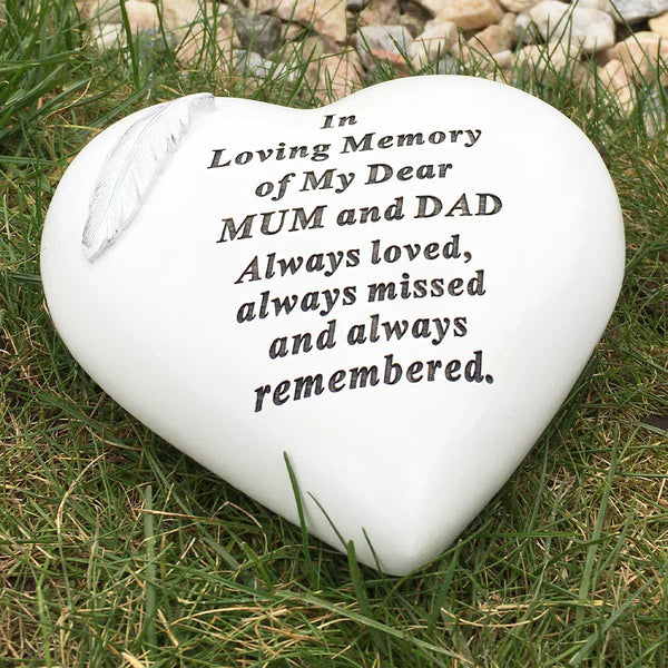 In Loving Memory Feather Heart Outdoor Memorial - Mum & Dad