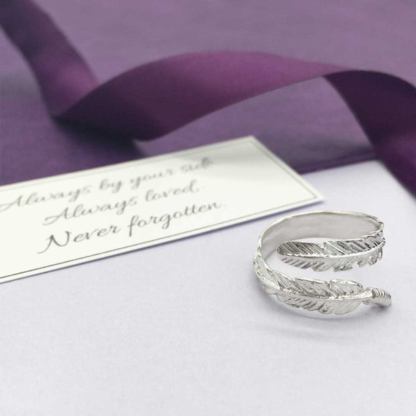 Sterling Silver Feather Memorial Ring