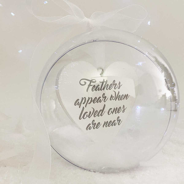 Personalised 'Feathers appear when loved ones are near' Memorial Giant 14cm Bauble