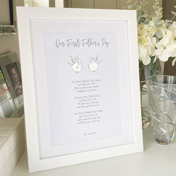 First Father's Day Hand Print Personalised Framed Print - Gold/Silver Foil