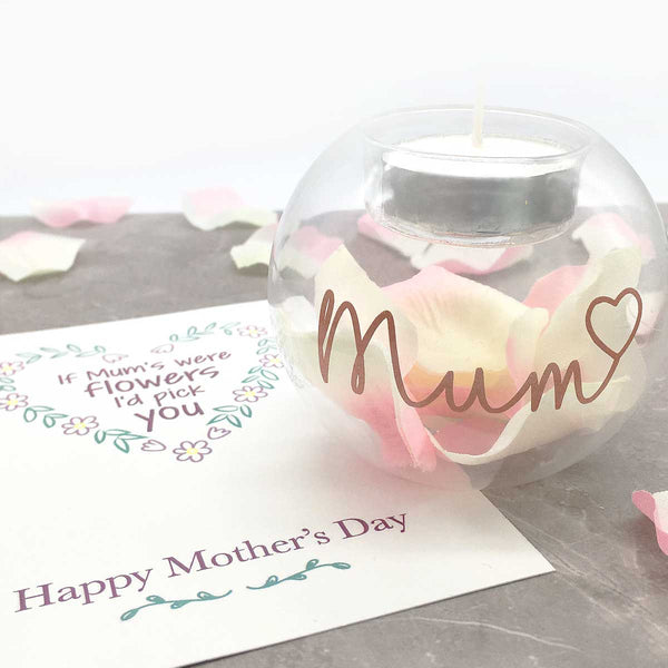 'Mum' Petal Filled Glass Tea Light Holder