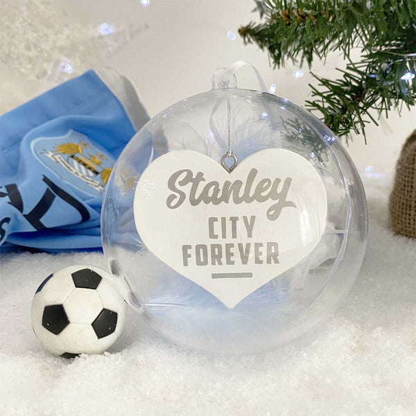 Personalised Football Fan Memorial Hanging Heart Christmas Bauble