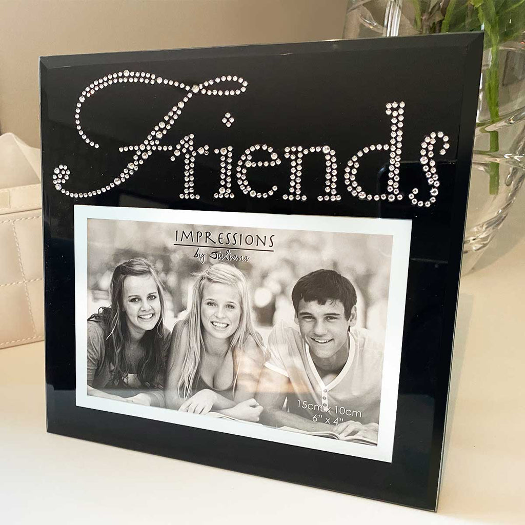 'Friends' Photo Frame, Black Glass Crystal Details