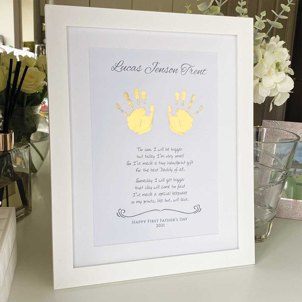 Your Baby's Hand Print & Poem Personalised Framed Print - Gold/Silver Foil