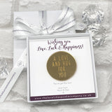 A Love & A Hug For You Gold Mirrored Token Personalised Gift Box - Various Thoughtful Messages