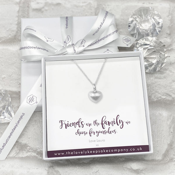 Sterling Silver Heart Necklace Personalised Gift Box - Various Thoughtful Messages
