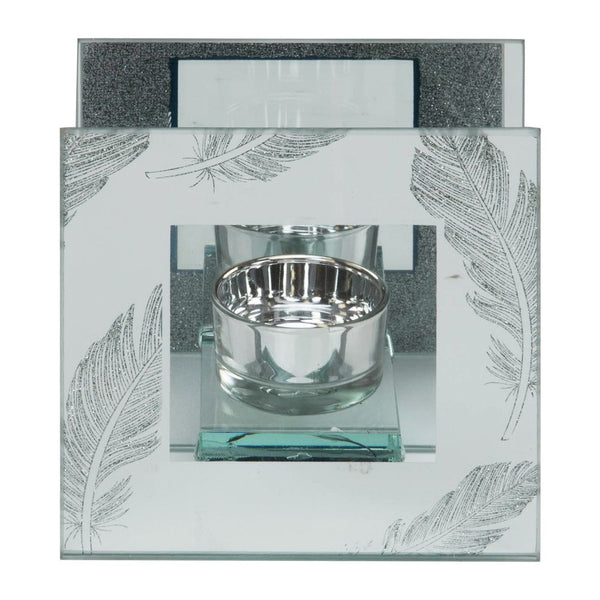 Silver Glitter Feather Glass Tea Light Holder Box