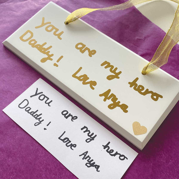 Your Handwriting Personalised Hanging Wooden White Sign