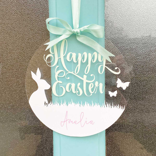 Personalised Acrylic Easter Bunny & Butterfly Hanging Decoration