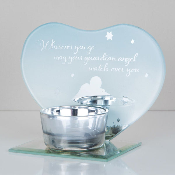 Heart Shape Glass Tea light Holder - Guardian Angel
