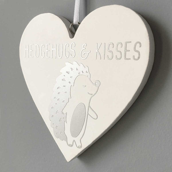 Hedgehugs & Kisses White Wooden Heart Hanging Sign