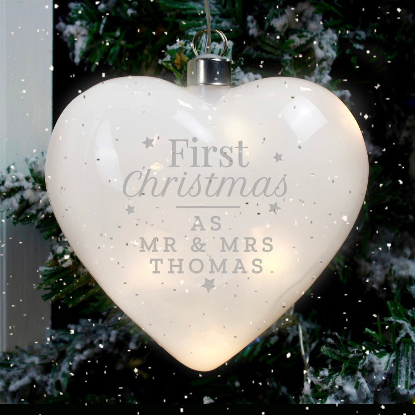 Personalised 'First Christmas' LED Hanging Glass Heart