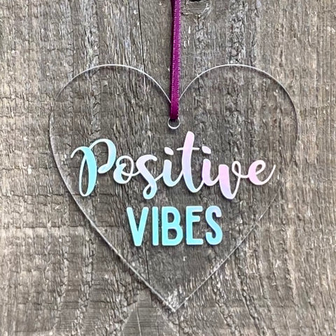 Positive Vibes Decorative Heart + FREE Sentiments Card
