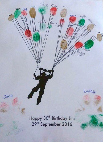 Personalised Parachute Parascender Fingerprint Art The