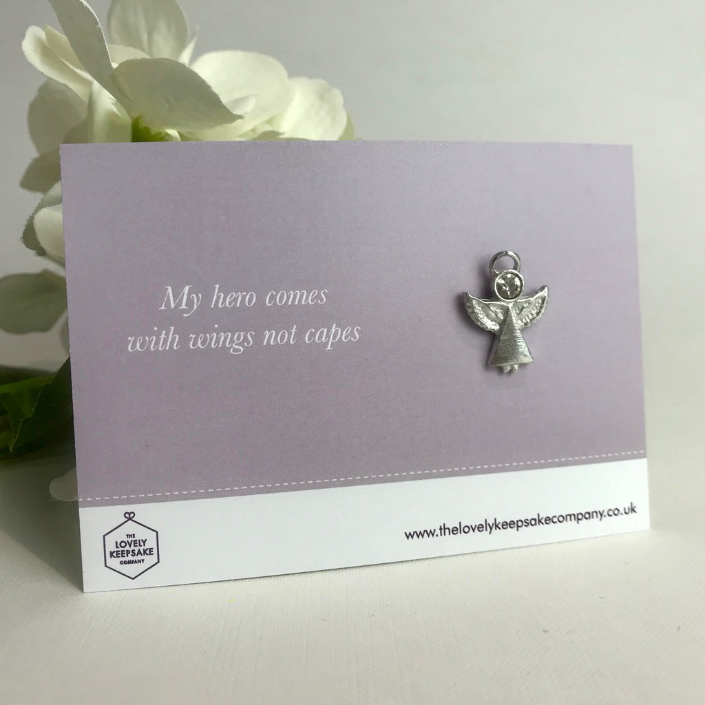 'My Hero Comes With Wings Not Capes' Angel Pin