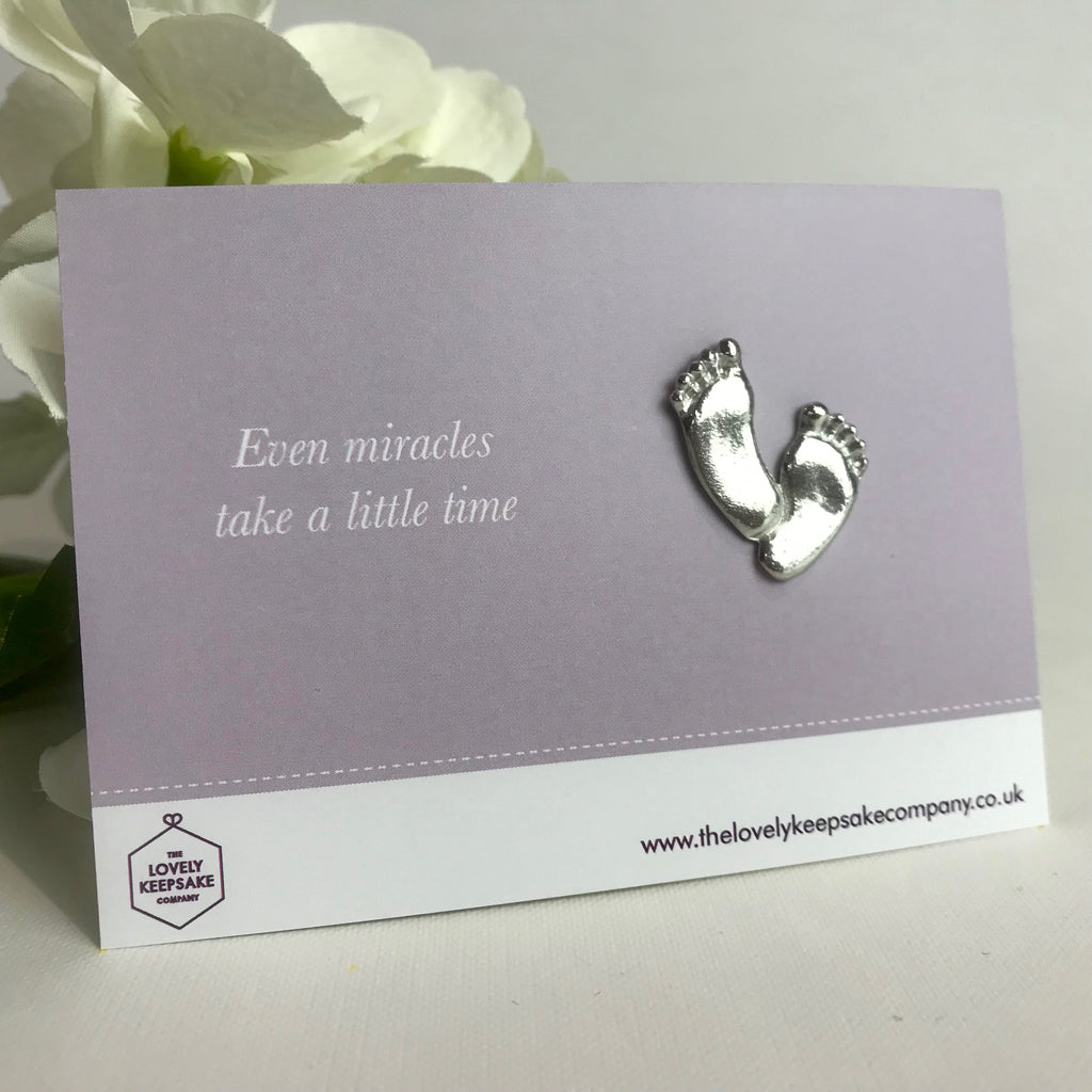 'Even miracles take a little time' Baby Footprint Fertility Token