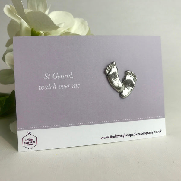 'St Gerard, watch over me' Baby Footprint Fertility Token