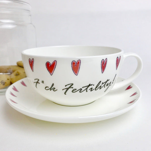'F*CK Fertility!' Bone China Teacup & Saucer