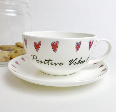 'Positive Vibes!' Bone China Teacup & Saucer
