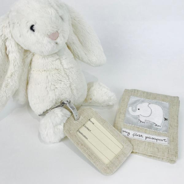 Linen 'My 1st Passport' Cover & Luggage Tag by Saffron