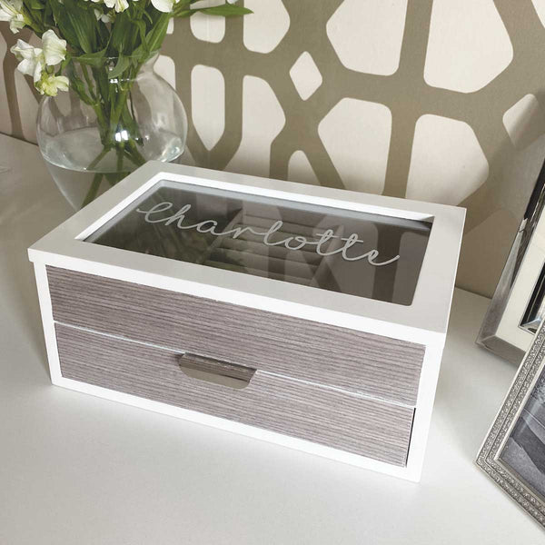 Personalised Jewellery Box With Wood Effect Drawer