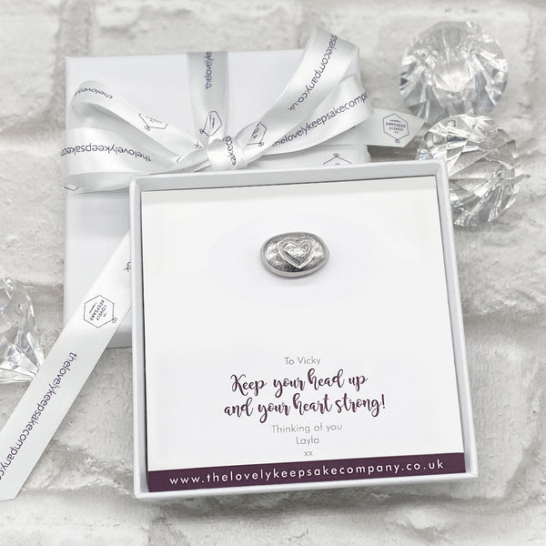 Heart Pebble Token Personalised Gift Box - Various Thoughtful Messages