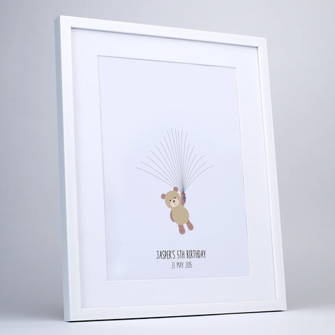 Fingerprint art, brown teddy waiting balloons, white frame