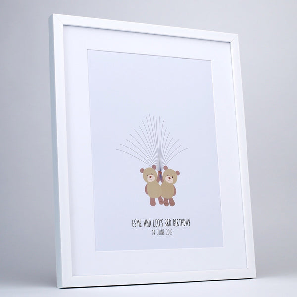 Fingerprint art, twin teddys waiting balloons, white frame