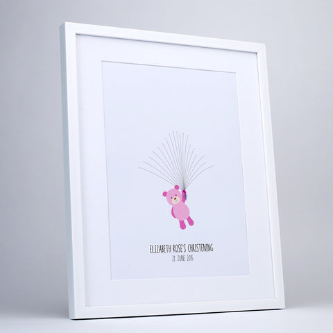 Fingerprint art, pink teddy for fingerprint balloons, white frame