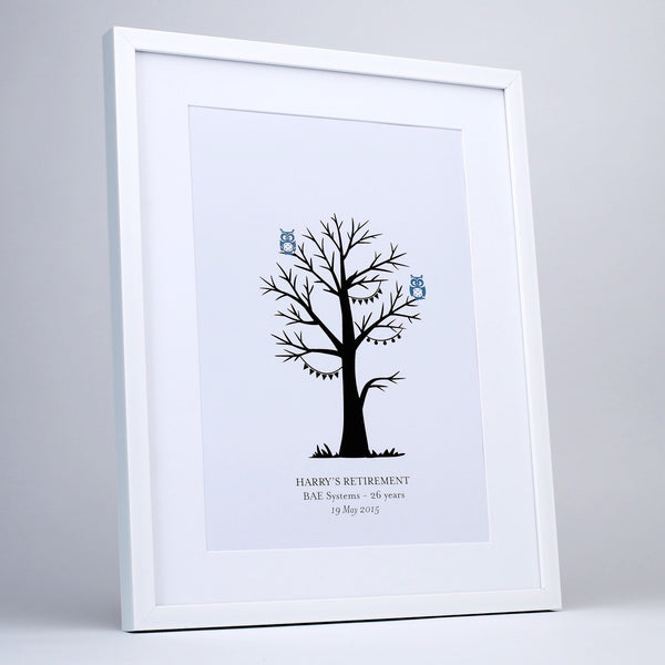 Personalised Grey Owl Fingerprint Tree