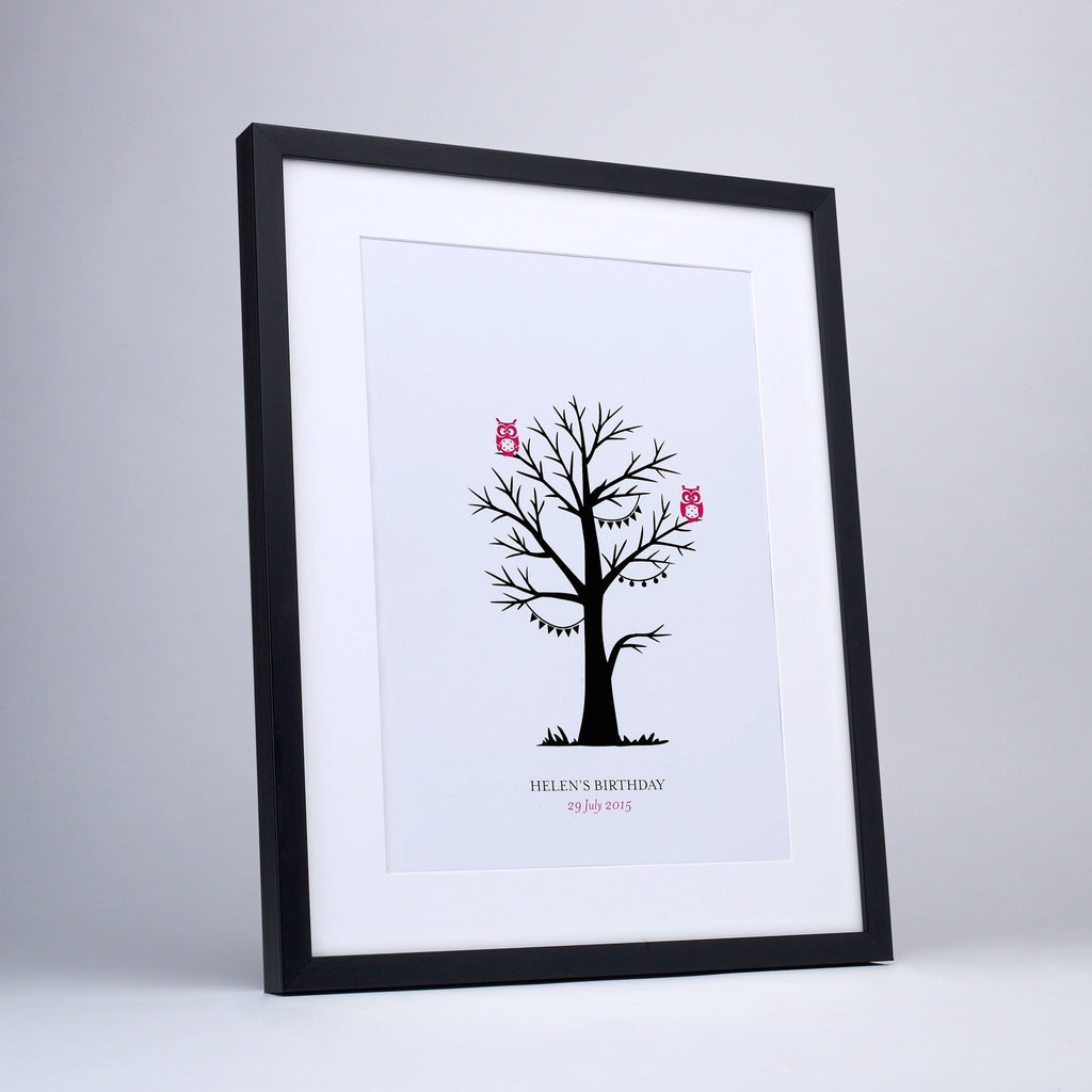 Personalised Pink Owl Fingerprint Tree - Black Frame