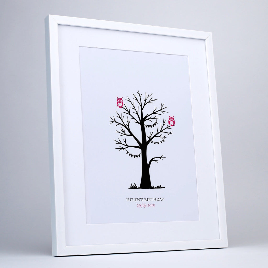 Personalised Pink Owl Fingerprint Tree - White Frame