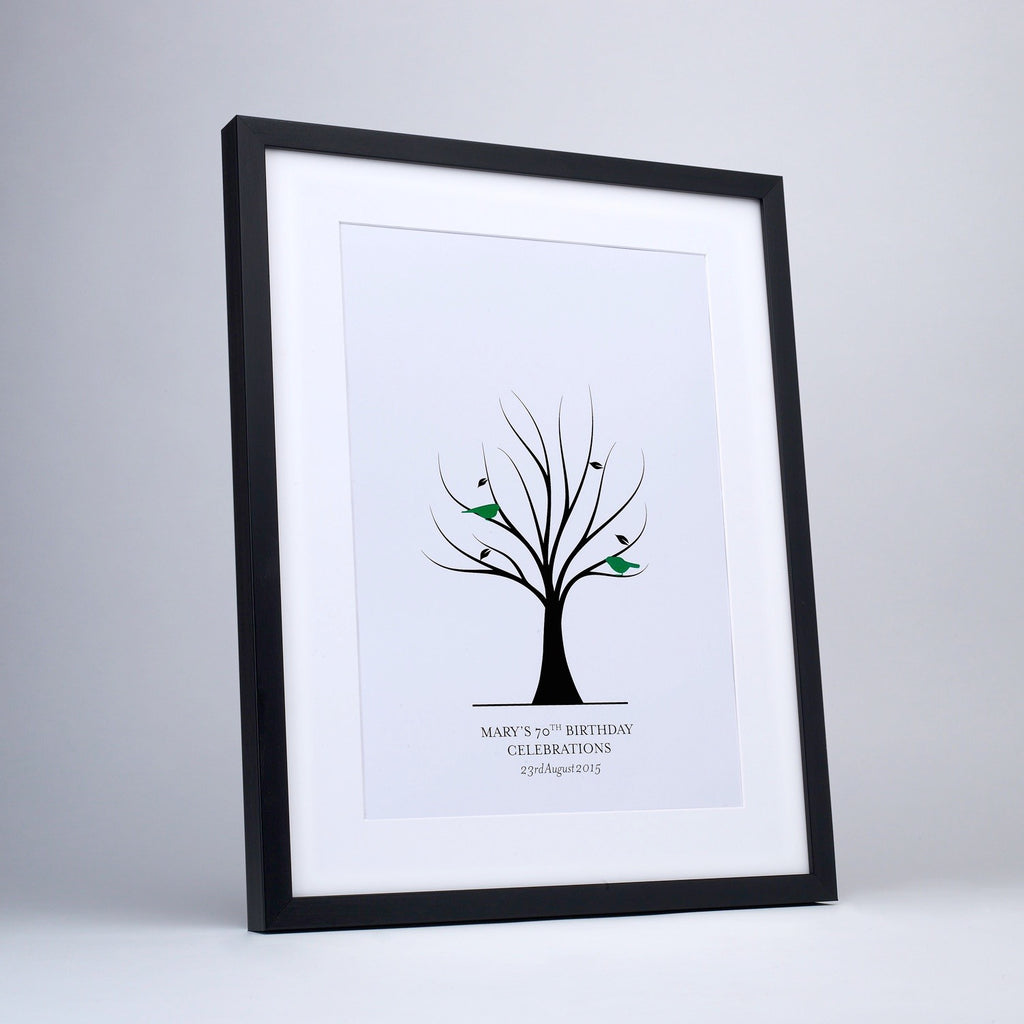 Fingerprint tree for fingerprint leaves, green birds, white frame